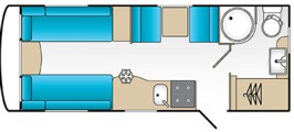 18ft 4 berth caravan plan