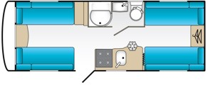 18ft 5 berth caravan plan