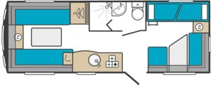 18ft 6 Berth caravan floorplan